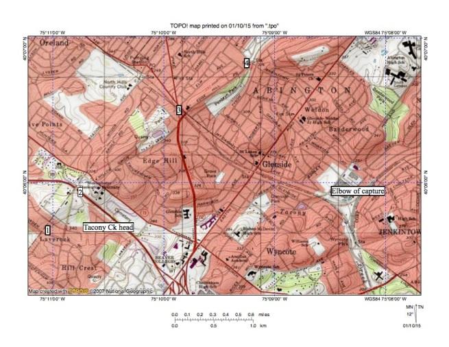 Figure 1: Tacony Creek east oriented headwaters.