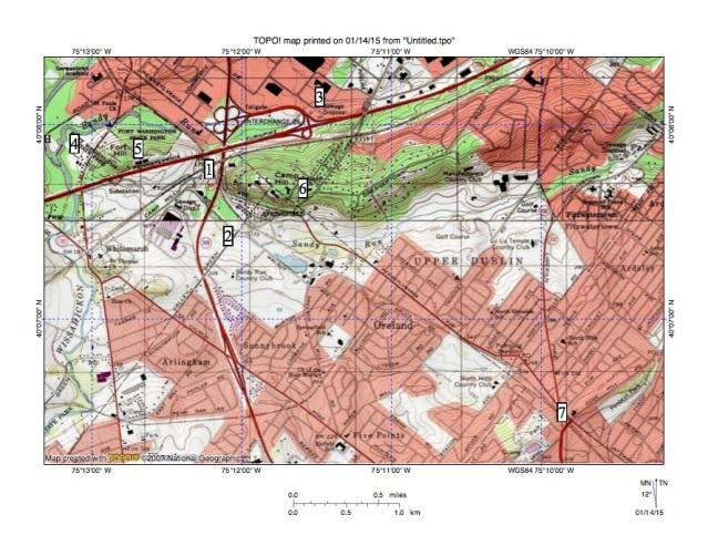 Figure 1: Fort Washington area water gaps.