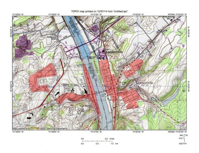 Figure 5: Delaware River valley at New Hope, PA and Lambertville, NJ. Note how tributary streams from the west flow in northeast directions to join the south oriented Delaware River as barbed tributaries while tributaries from the east flow in southwest directions. This evidence suggests the Delaware River valley eroded headward across multiple southwest oriented channels. United States Geological Survey map presented using National Geographic TOPO software.