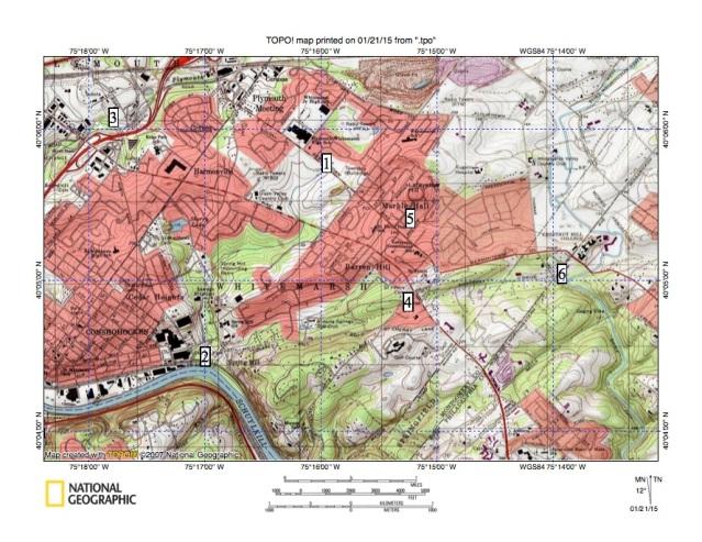 Figure 1: Spring Mill Creek drainage basin region.