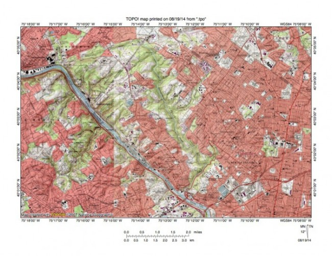 Figure 11: Reduced size topographic map showing the northwest Philadelphia area where the Schuylkill River and Wissahickon Creek have cut gorges across the 400-foot high complex of metamorphic and igneous rock. The Schuylkill River flows in a southeast direction and the south oriented Wissahickon Creek gorge is located near the map center. Note how tributary valleys are oriented in southwest and northeast directions on both sides of both the Wiisahickon and the Schuylkill valleys. This northeast to southwest tributary orientation is evidence large volumes of southwest oriented water flowed across the region as both the Wissahickon Creek gorge and the Schuylkill River gorge were being eroded. Wissahickon Creek valley headward erosion beheaded southwest oriented flow routes to the actively eroding Schuylkill River valley. United States Geological Survey map presented using National Geographic TOPO software.